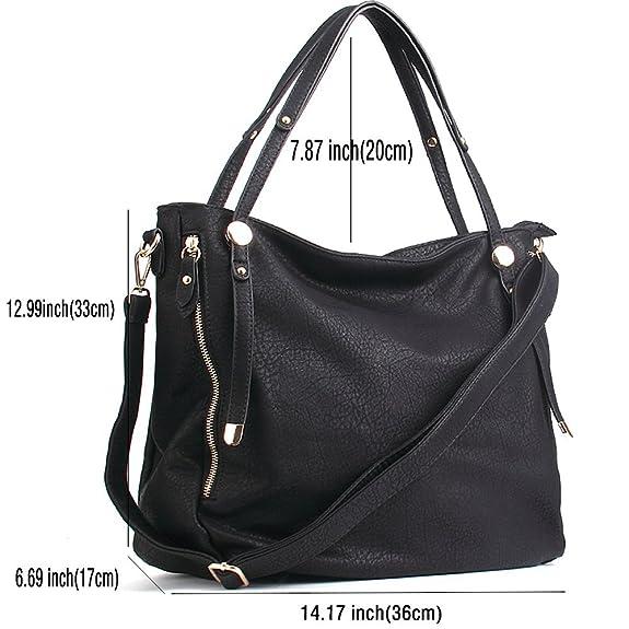 bc6271aefd19 Amazon.com  WISHESGEM Women Handbags Tote Shoulder Bags Satchel Zipper PU  Leather Cross Body Bags A-Black  Shoes