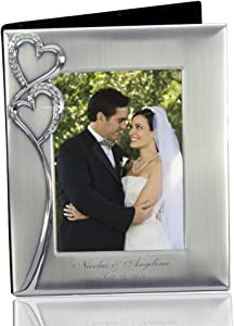 Thanh 39 Personalized Gifts -Silver Photo Album w. Crystal Hearts and Photo Cover