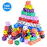 Austor 100 Pieces Game Dice Set, 10 Colors Square Corner Dice with Free Storage Bag, Play Games Like Tenzi, Farkle, Yahtzee, Bunco or Teaching Math