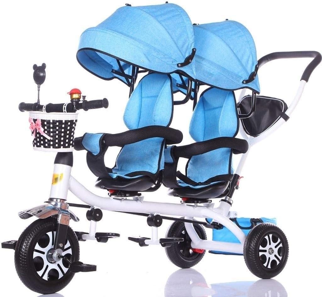 ZJJ Sillas de Paseo Cochecito de bebé, Cochecito de bebé, Carro de Viaje Triciclo Doble for niños Carro de bebé Gemelo Cochecito Grande Toldo extendido Carritos y sillas de Paseo (Color : A)