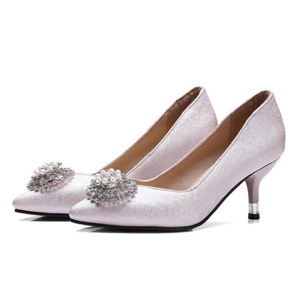 GAOLIXIA Frauen PU Spitzen Pumps High Heels Frühling Sommer Perle Strass Sandalen Hochzeit Party Arbeit Schuhe Gericht Schuhe