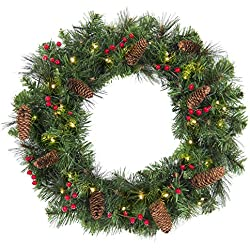 """Best Choice Products 24"""" Spruce Christmas Wreath W/ 50 Clear Lights, Silver Bristles, Pine Cones, Red Berries"""