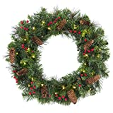 Best Choice Products 24in Pre-Lit Cordless Artificial Spruce Christmas Wreath w/ 50 LED Lights, Silver Bristles, Pine Cones, Berries - Green