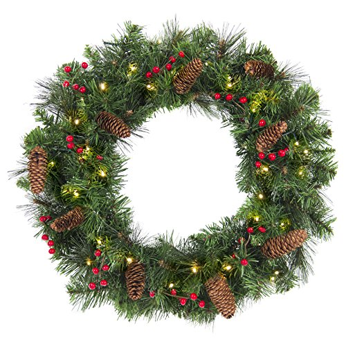 Best Choice Products 24-inch Pre-Lit Cordless Artificial Spruce Christmas Wreath w/ 50 LED Lights, Silver Bristles, Pine Cones, Berries, Green