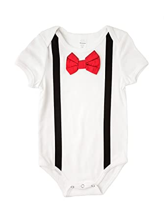 00fb1ea0fcd50 Baby Boy's Black Suspenders with Red Bow Tie Bodysuit- Black and Red-(3