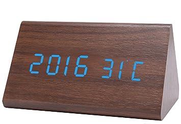 Relojes digitales Control acústico Reloj de madera de bambú reloj despertador digital LED mute horloge led , 2: Amazon.es: Hogar
