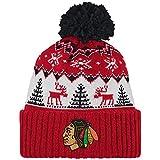 NHL Chicago Blackhawks Reindeer Cuffed Pom Knit, One Size, Red