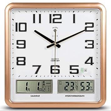 Zcx Cuadrado Reloj De Pared Electrónico/Personalidad Silenciosa Calendario Reloj De Cuarzo/Reloj De Pared Digital con LED para El Hogar (Color : A4, ...