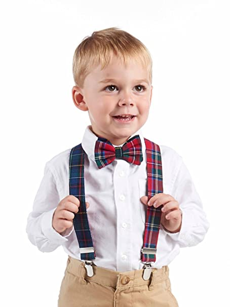 dc851499ba4ae Amazon.com: Mud Pie Boys' Baby Bow Tie & Suspender Set, Multi 12 ...