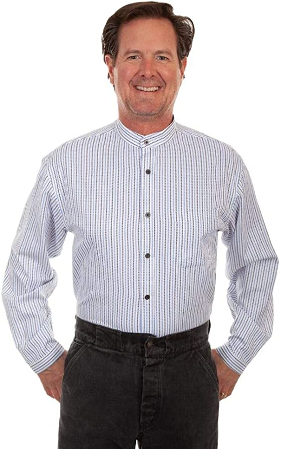 Mens Vintage Shirts – Casual, Dress, T-shirts, Polos Scully Rangewear Mens Rangewear Stripe Long Sleeve Shirt - Rw292-Blu $58.75 AT vintagedancer.com