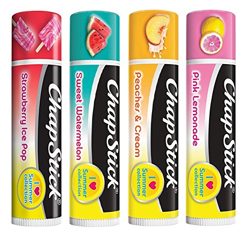 Chapstick Set of 4, I Love Summer Collection: Strawberry Ice Pop, Sweet Watermelon, Peaches & Cream, Pink Lemonade Pfizer
