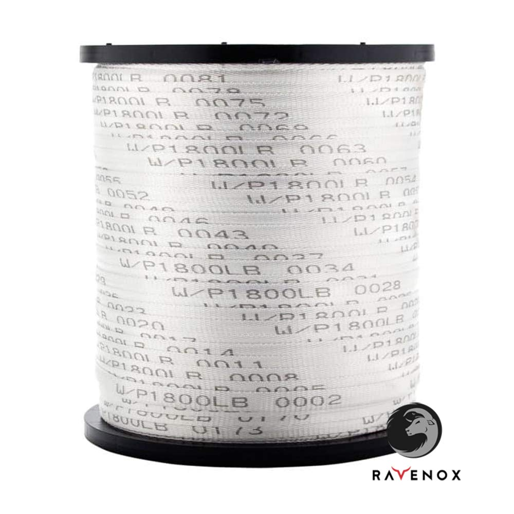 Ravenox Polyester Electrical Mule Tape   (1/2-inch x 5000-feet)   Made in USA   Printed White Conduit Pull Tape   Professional Electrical Installations   Pulling Tape for Network, Fiber Optic & Cables