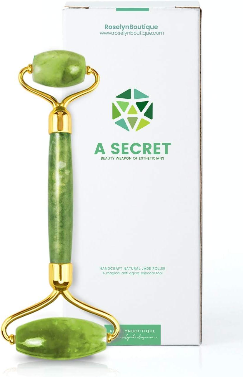 Jade Roller for Face - Beauty Cosmetic Facial Skin Roller Massager Tool - Original Handcraft Natural Jade