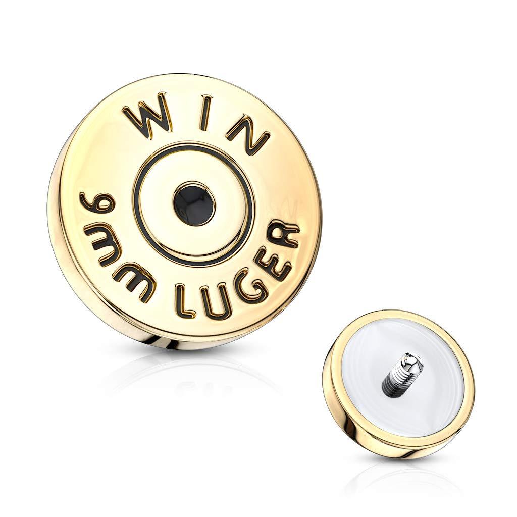 Inspiration Dezigns 14GA Bullet Back Casing Internally Threaded 316L Surgical Steel Dermal Top 7mm   Gold