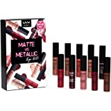 NYX PROFESSIONAL MAKEUP Lipstick Set 10-Piece Soft Matte Lip Cream Matte vs Metallic Lip Kit