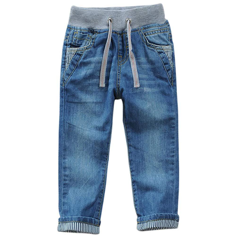 Kordelzug Bund Jungen Jeans Jeanshose Straight Fit Denim Hosen für Kinder Blau xy-striped pants