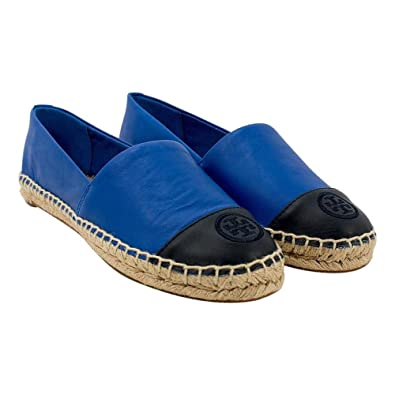 Tory Burch Colorblock Leather Espadrille Flats, Jelly Blue/Tory Navy (9.5)