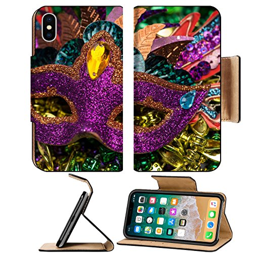 Luxlady Premium Apple iPhone X Flip Pu Leather Wallet Case IMAGE ID 26111610 Close up view of purple sequined Mardi Gras mask with colorful beads out focus in the - Sequined Mask