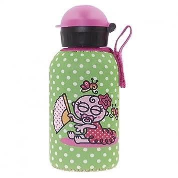 LAKEN Botella Infantil Térmica de Acero Inoxidable 0,35L y Funda de Neopreno Beige de Katuki Saguyaki