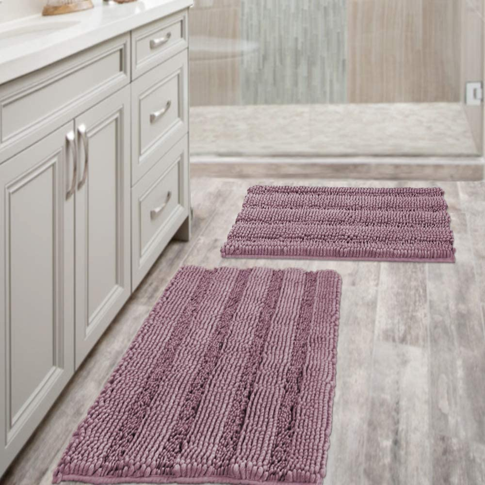 "Mauve Bathroom Rugs Ultra Thick and Soft Texture Chenille Plush Striped Floor Mats Hand Tufted Bath Rug with Non-Slip Backing Microfiber Door Mat for Kitchen/Entryway (Pack 2-20"" x 32""/17"" x 24"")"