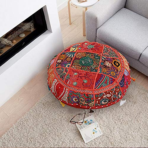 textile treasure Indian Patchwork Hippie Gypsy Foot Stool Outdoor Pillow Cover Hand Embroidered Home Decorative Vintage Seating -