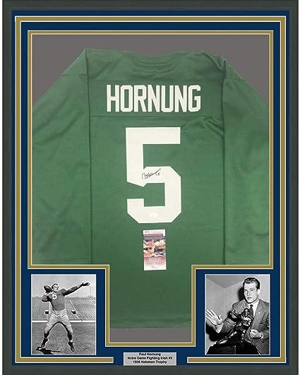 Framed Autographed/Signed Paul Hornung 33x42 Notre Dame Green ...