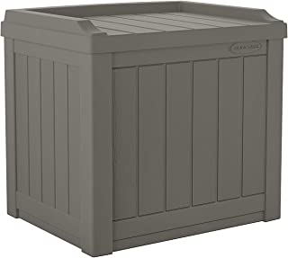 product image for Suncast 22-Gallon Small Deck Box - Lightweight Resin Indoor/Outdoor Storage Container and Seat for Patio Cushions and Gardening Tools - Store Items on Patio, Garage, Yard - Stone Gray