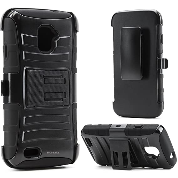 huge discount 1d19a 0732a ZTE Rapido LTE Case, Nagebee - ZTE Rapido LTE Z932L Hybrid Armor Stand Case  with Holster and Locking Belt Clip with Free Microfiber Cleaning Cloth for  ...
