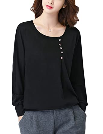dd77a67c Leoie Women Cotton Round Neck Loose Booming Shirt Simple Long Sleeve Solid  Color Tops: Amazon.in: Clothing & Accessories