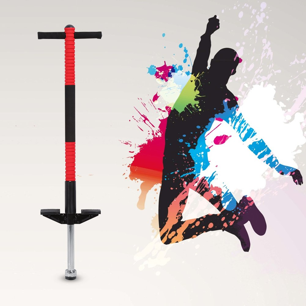 Pogo Stick,Outdoor Fun Jumping Pogo Jumper Jackhammer Jump Stick Sports Educational Toys for Kids Boys & Girls Ages 8-10 & Up, 45 to 90 Lbs,Single Pole(Red) by Estink