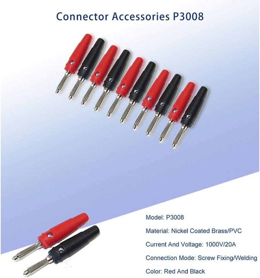 Fix Spina a banana P3008 accessori antiscivolo 1000 V//20 A 10 pezzi pin sonde connettore jack a banana in rame per amplificatore 4 mm