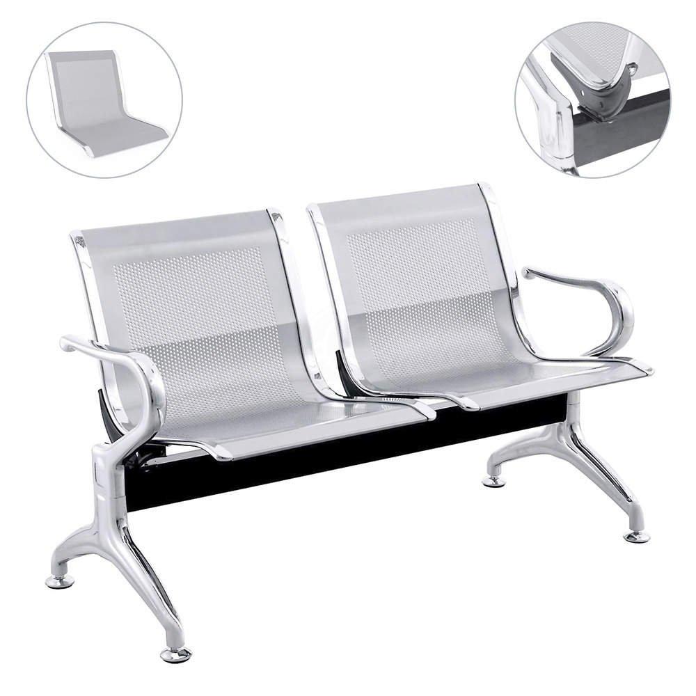 Cablematic - Chaises sur poutre pour salle d'attente avec 2 sièges ergonomique d'argent