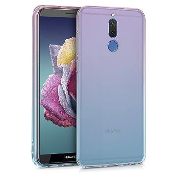 kwmobile Funda para Huawei Mate 10 Lite - Carcasa para móvil de TPU con diseño Bicolor - Rosa Fucsia/Azul/Transparente