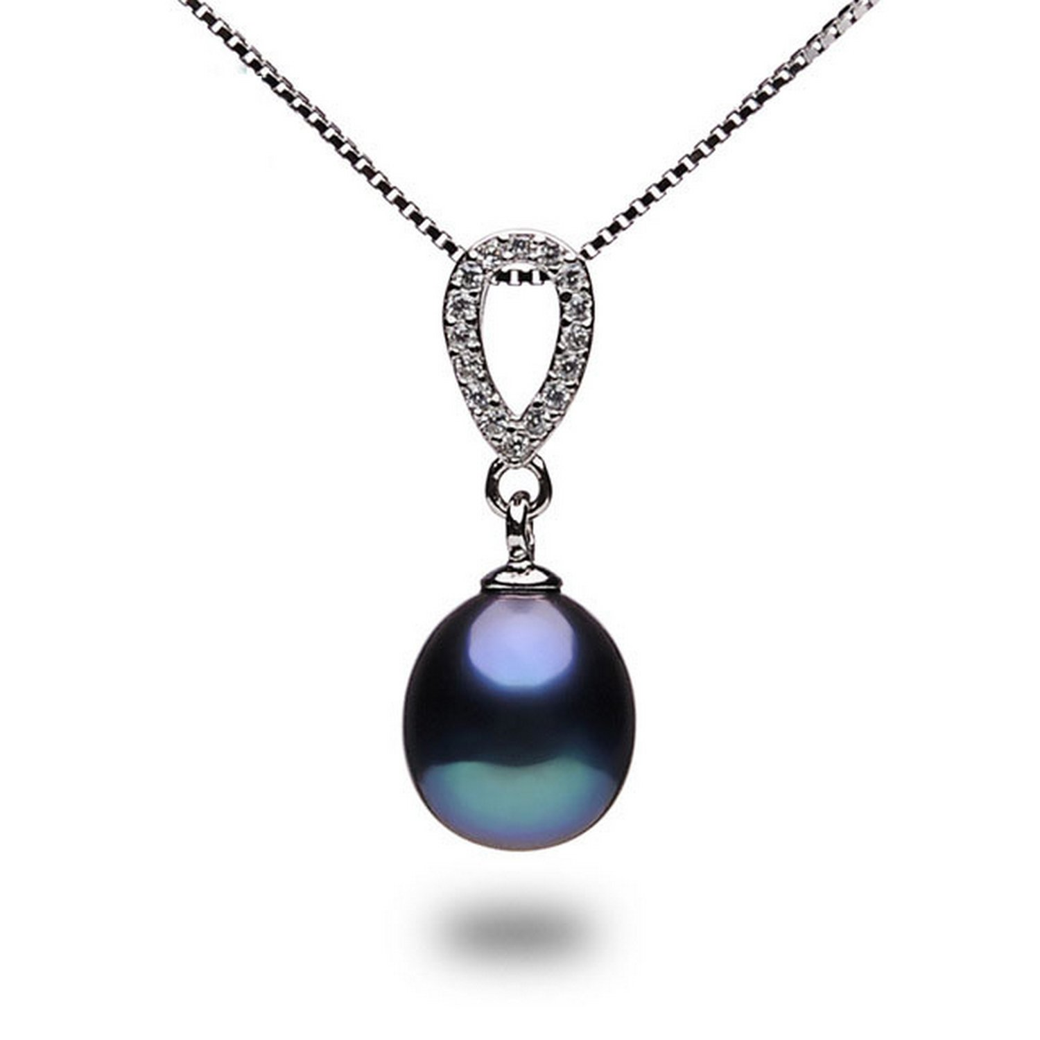 CS-DB Jewelry Silver Black Pearl Fashion Chain Charm Pendants Necklaces