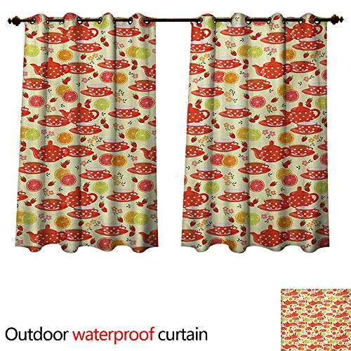 WilliamsDecor Modern Outdoor Balcony Privacy Curtain Teapots and Cup with Polka Dots Lime Orange and Strawberry Fruits Cute Display W55 x L72(140cm x 183cm)