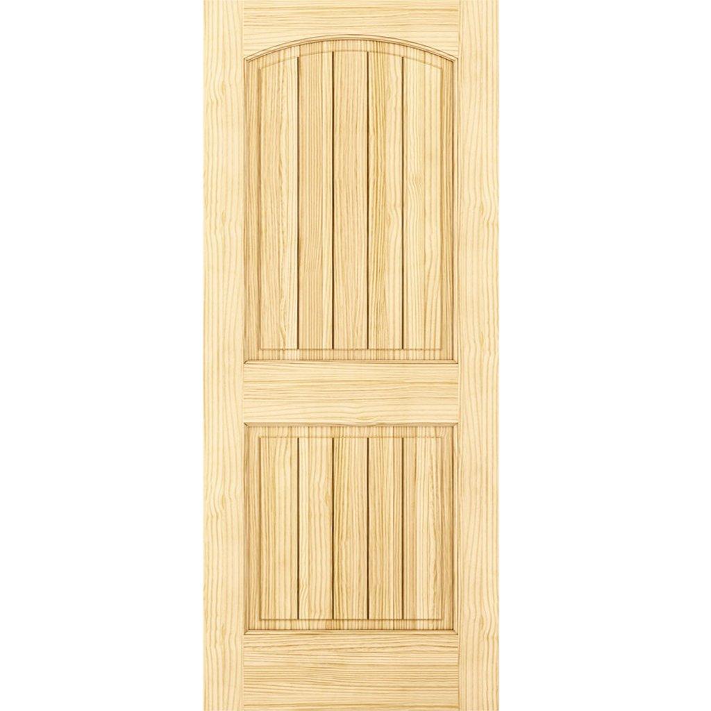 2-Panel Door Interior Door Slab Solid Pine Arch Top V-Grooves (28x80)