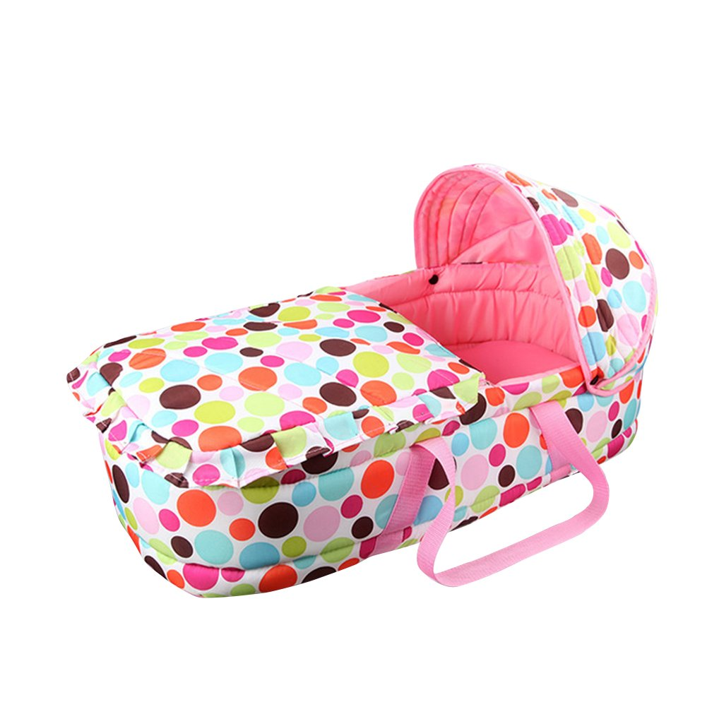 Fitlyiee Lightweight Baby Carrycot Baby Travel Bed Bassinet Portable Infant Carrier Crib with Awning for 0-7 Months (Pink)