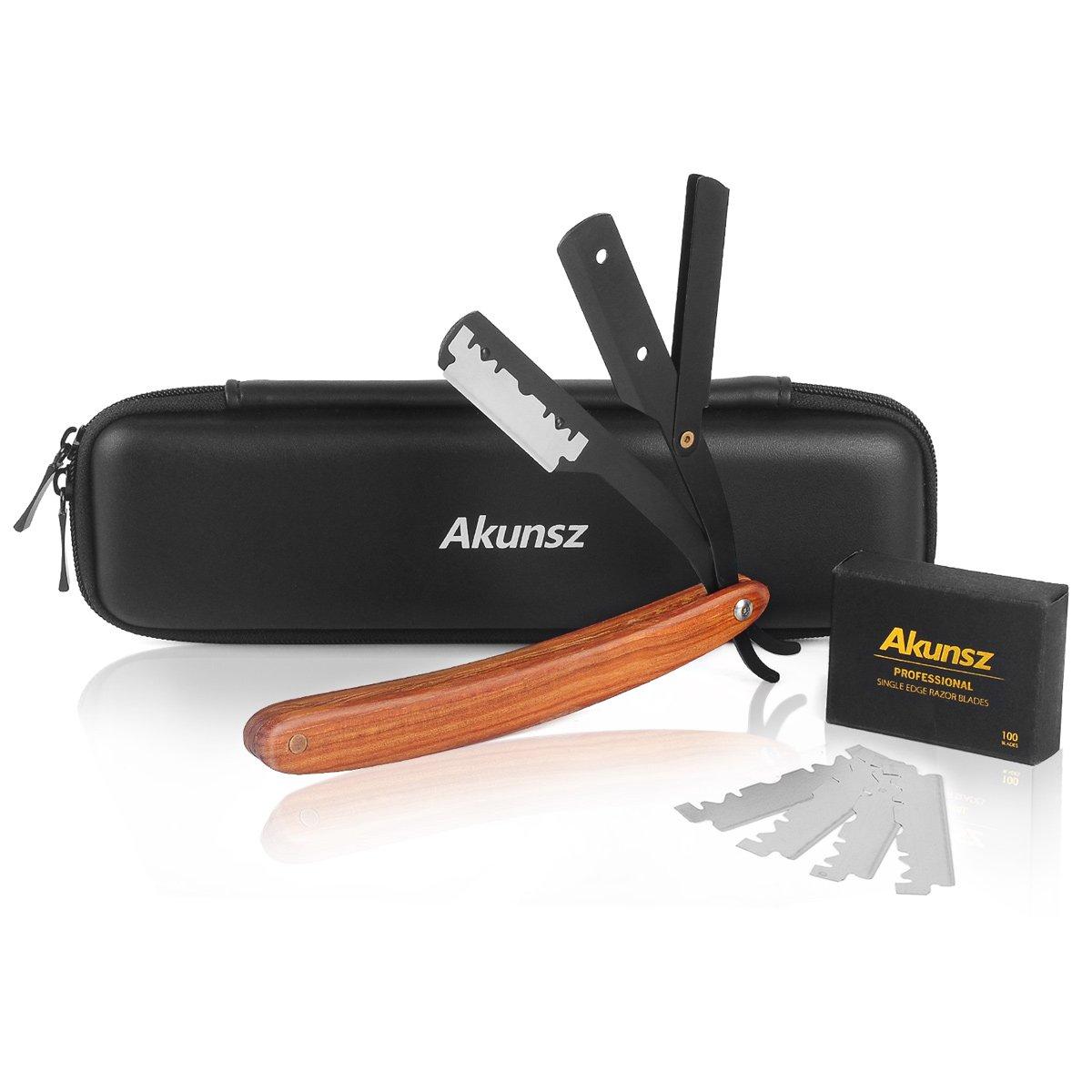 Straight Edge Razor AKUNSZ Professional Black Barber Razor with 100 Single Edge Razor Blades and Barber Straight Razor Case - Rosewood Handle