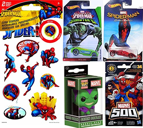 Green Goblin VS Spider-Man Hot Wheels Marvel Homecoming Movie Exclusive & Sinister 6 Collectible car bundle & Funko Mini Bobble-Head Green Goblin Keychain / Glow Stickers & Blind Bag Set