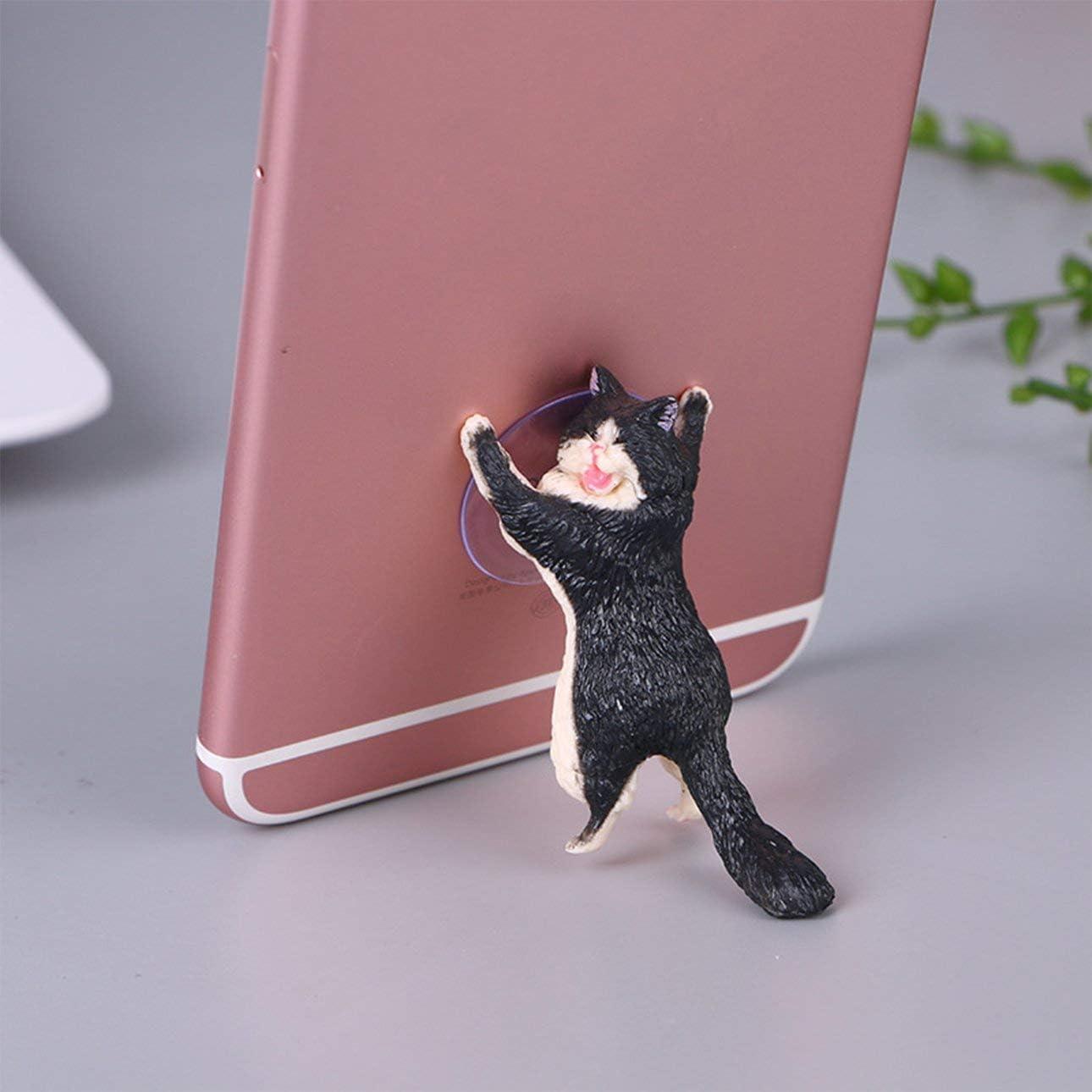 Liobaba Smart Phone Sucker Holder Cute Cat Support Resin Cell Phone Holder Stand Sucker Tablets Desk Sucker Smartphone Holder