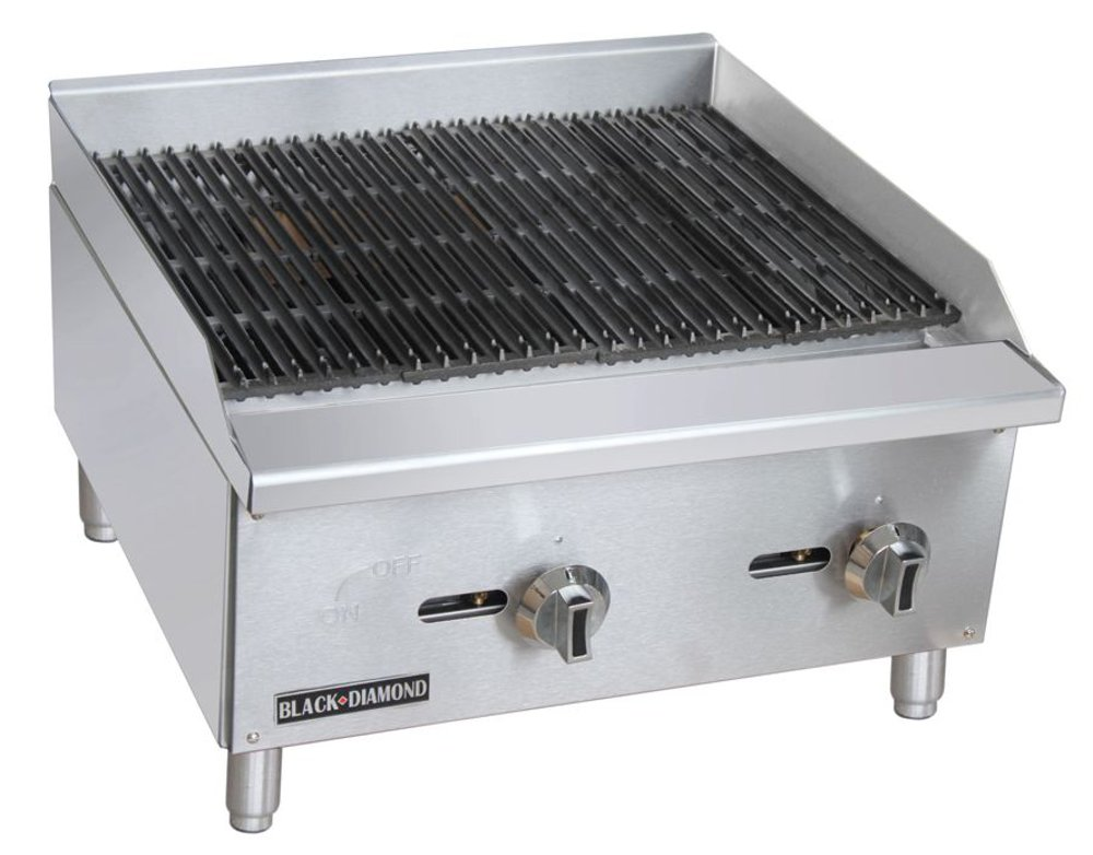 Empura BDECTC-24/NG Stainless Steel Black Diamond Radiant 24'' Countertop Charbroiler Natural Gas with 2 Manual Burner Controls