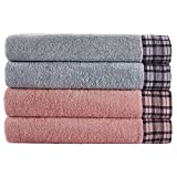 JMD TEXTILE Towels Set Clearance! Bathroom Towels 4 Pieces,100% Cotton,Home Essentials, College Dorm Room Accessories,Pink and blue Towels, Lingge Pattern Widening Edging,Extra Large Towels(multi, 4)