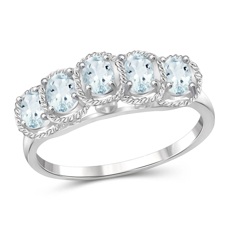 3/4 Carat T.G.W. Aquamarine Sterling Silver Ring