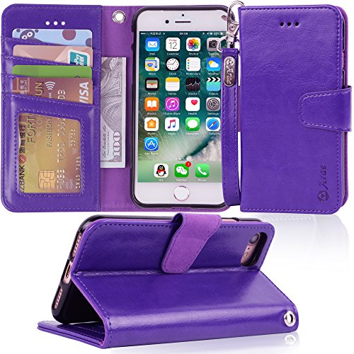 Arae Case For iPhone 7 / iPhone 8, Premium PU leather wallet Case with Kickstand and Flip Cover for iPhone 7 (2016) / iPhone 8 (2017) 4.7 (not for iphone 7/8 plus) - Purple