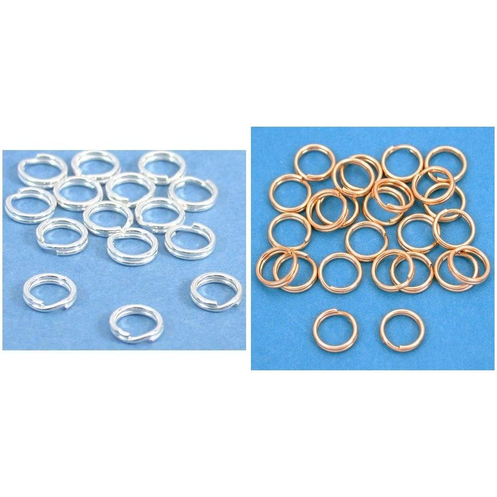 Sterling Silver & 14k Gold Filled Split Rings Findings Connectors Kit 50 Pcs by FindingKing (Image #1)