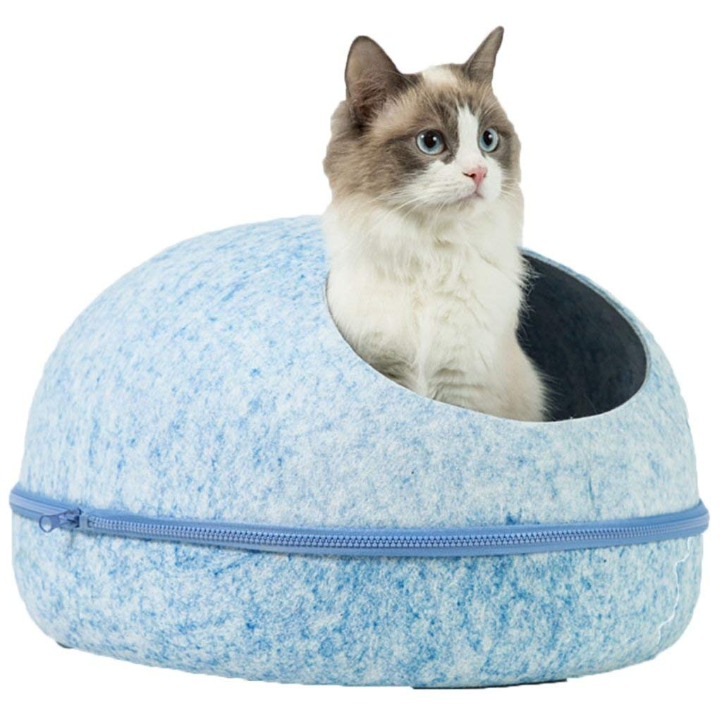 M bluee M bluee KYCD Cat Litter, Net Red Nest, Semi-closed, Washable, Felt Nest, All Seasons Common, Egg Shell Nest, Cat Supplies, Pet Supplies (color   bluee, Size   M)