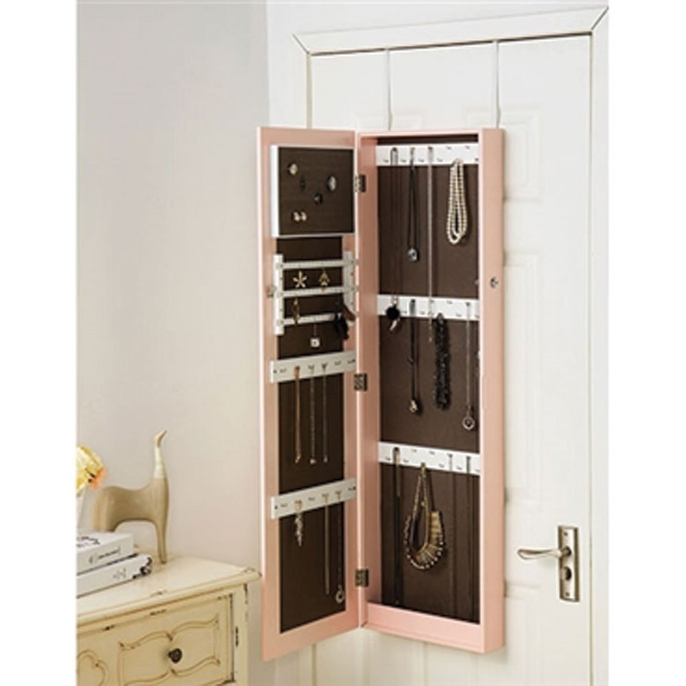 DormCo Pink Full-Length Hanging Mirror with Jewelry Cabinet