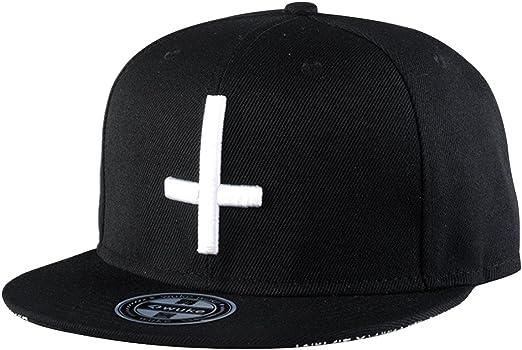 Aivtalk - Hip Hop Negro Sombrero Gorra de Béisbol con Bordado de Cruz Snapback Ajustable Moda para Hombre Mujer: Amazon.es: Ropa y accesorios