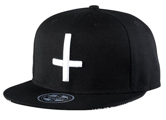Aivtalk - Hip Hop Negro Sombrero Gorra de Béisbol con Bordado de Cruz  Snapback Ajustable Moda para Hombre Mujer  Amazon.es  Ropa y accesorios b150b9536d28
