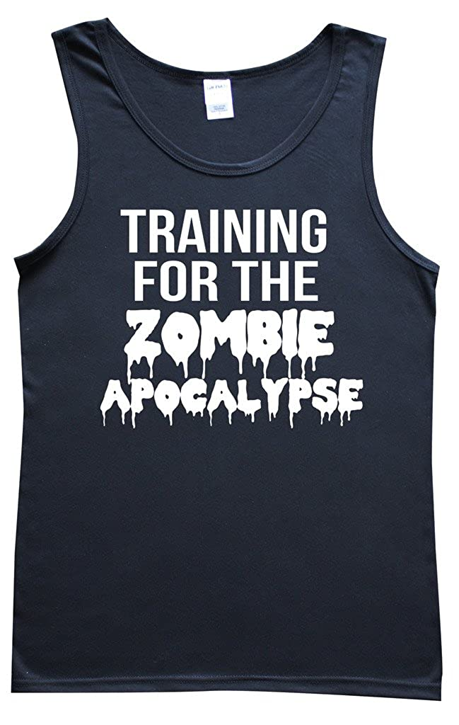 Black Mens Vest Top With Fun White Slogan: Training For The Zombie Apocalypse